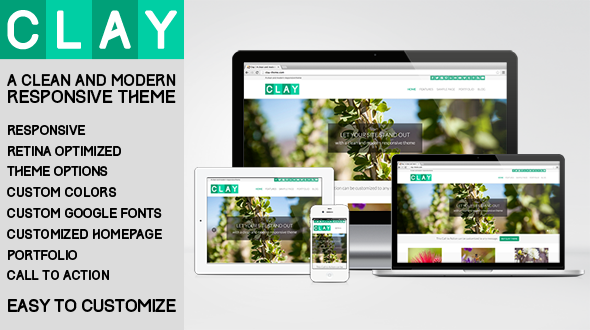 Clay - A Responsive All Natural WordPress Theme