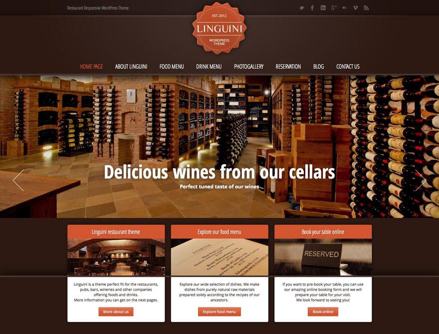 Linguini restaurant responsive wordpress theme themes wp