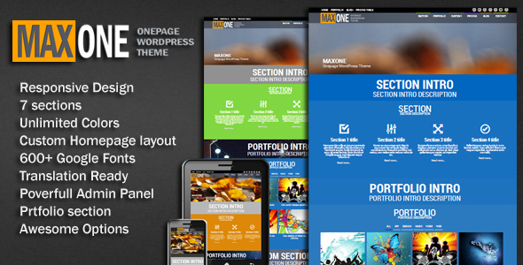 MaxOne onepage portfolio WordPress Theme