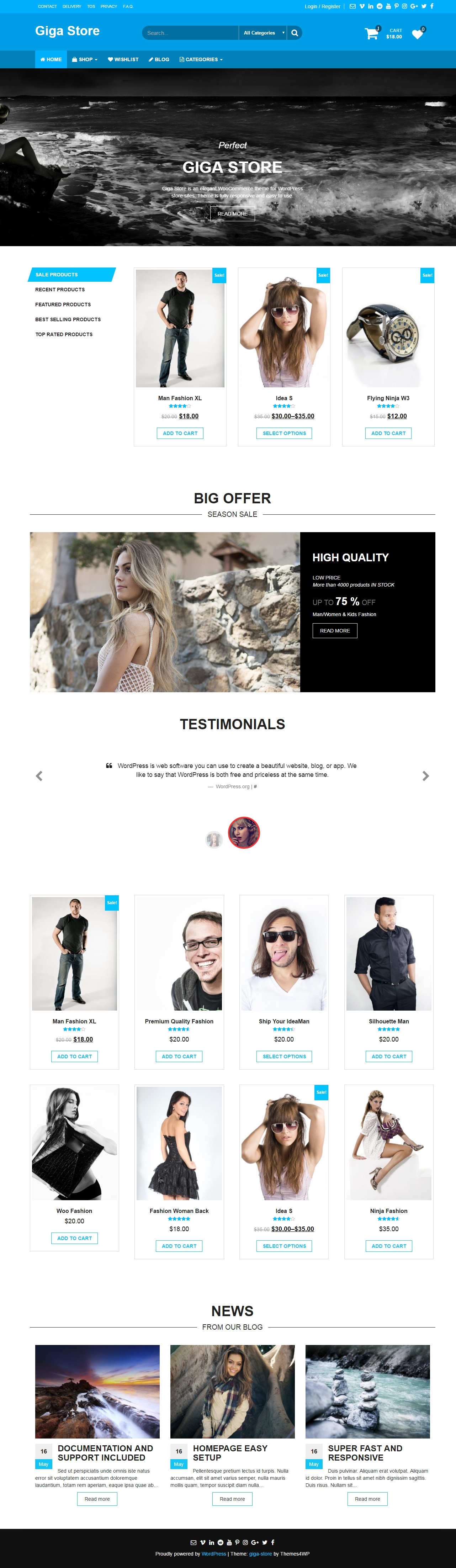 Giga Store – free woocommerce wordpress theme - theme preview