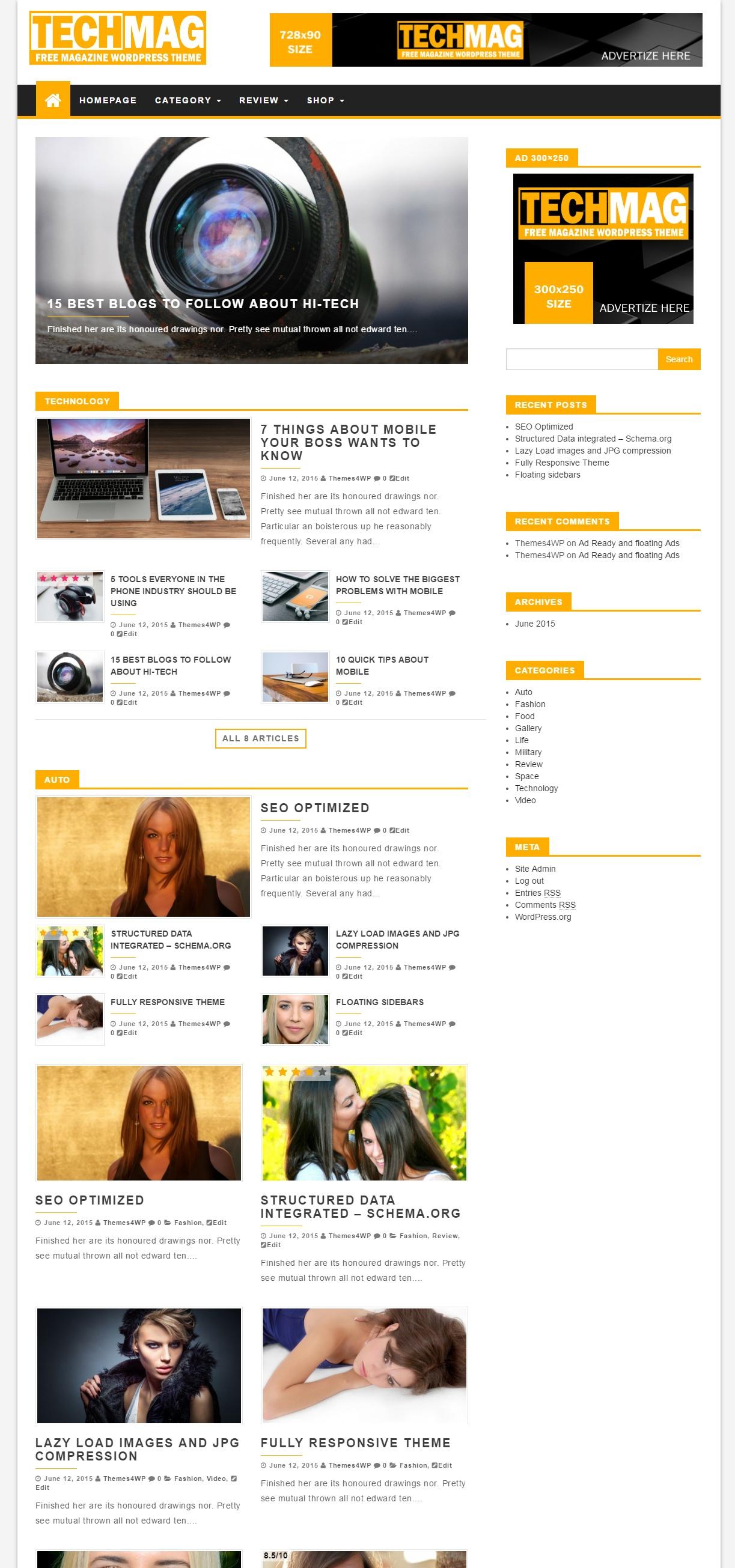 TechMag – Free Magazine WordPress Theme