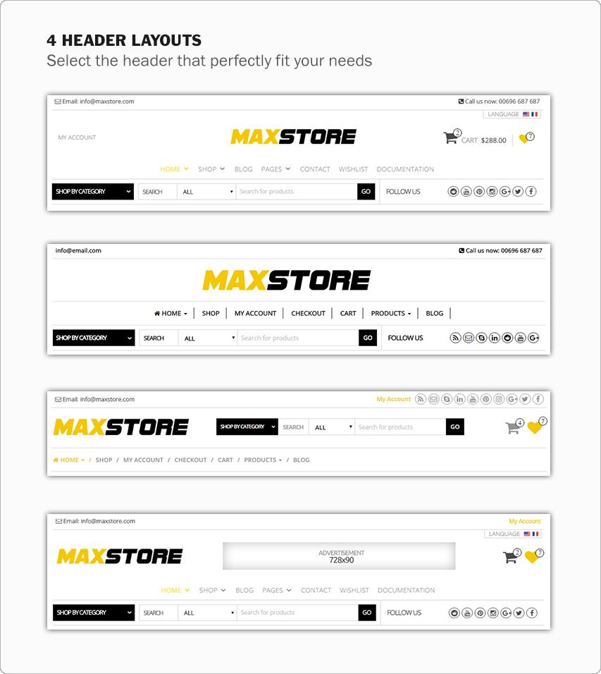 MaxStore PRO header layouts