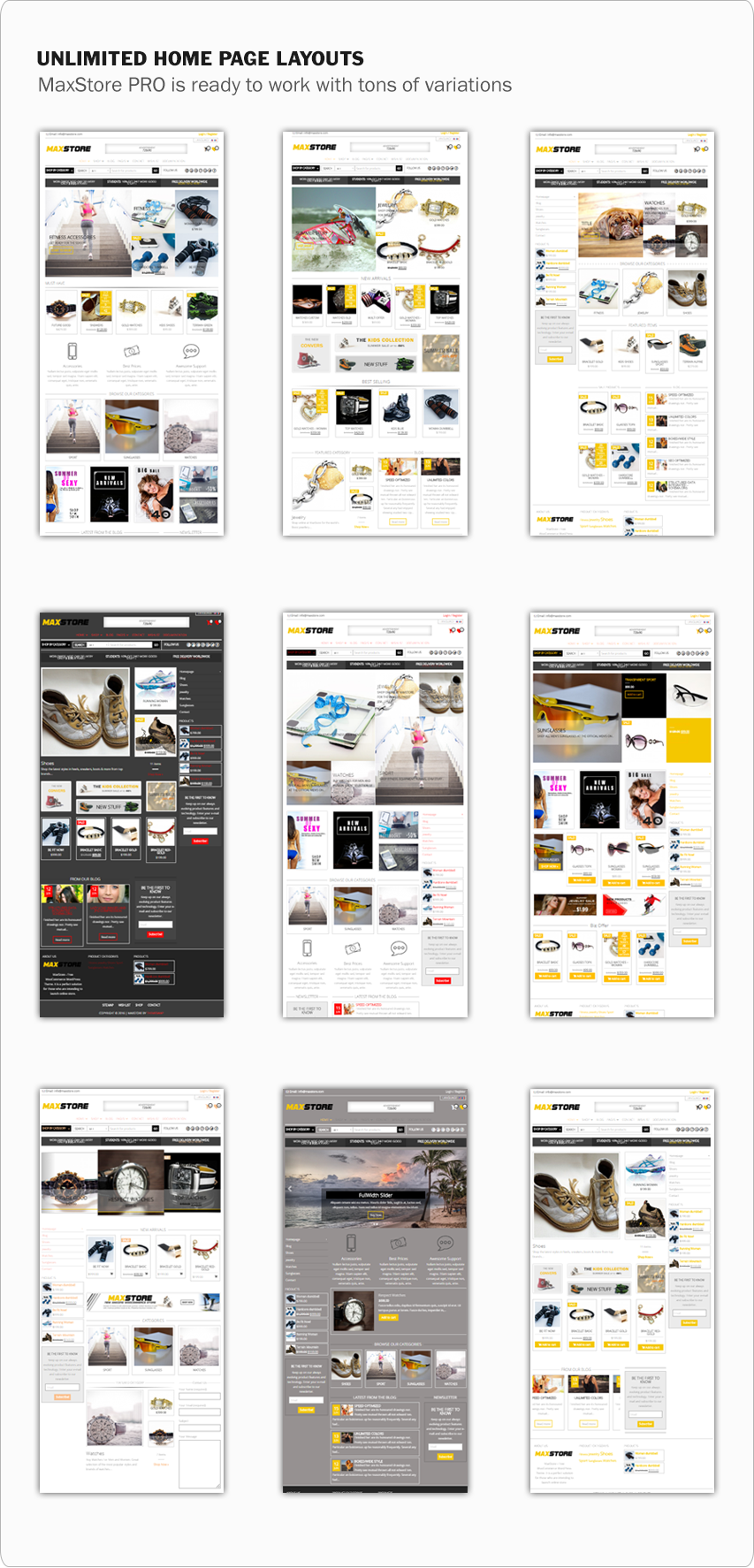 MaxStore PRO homepage layouts