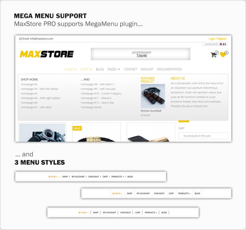 MaxStore PRO menu layouts