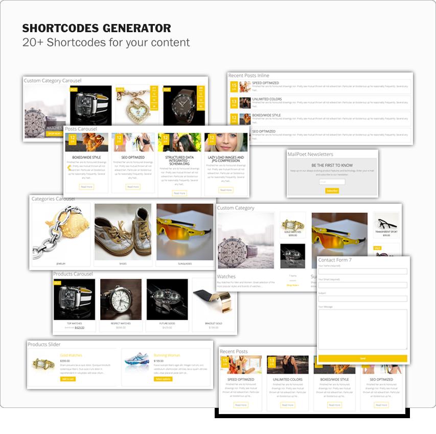 MaxStore PRO Shortcodes Generator