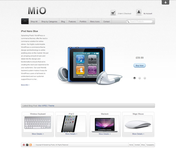 Mio free eCommerce Wordpress Theme - Themes4WP