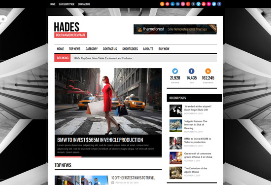 Hades Bold Magazine Newspaper Template  ThemesWp