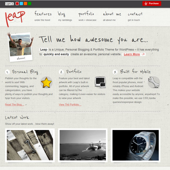 Leap - Unique Personal Blog Portfolio Theme - Themes4WP