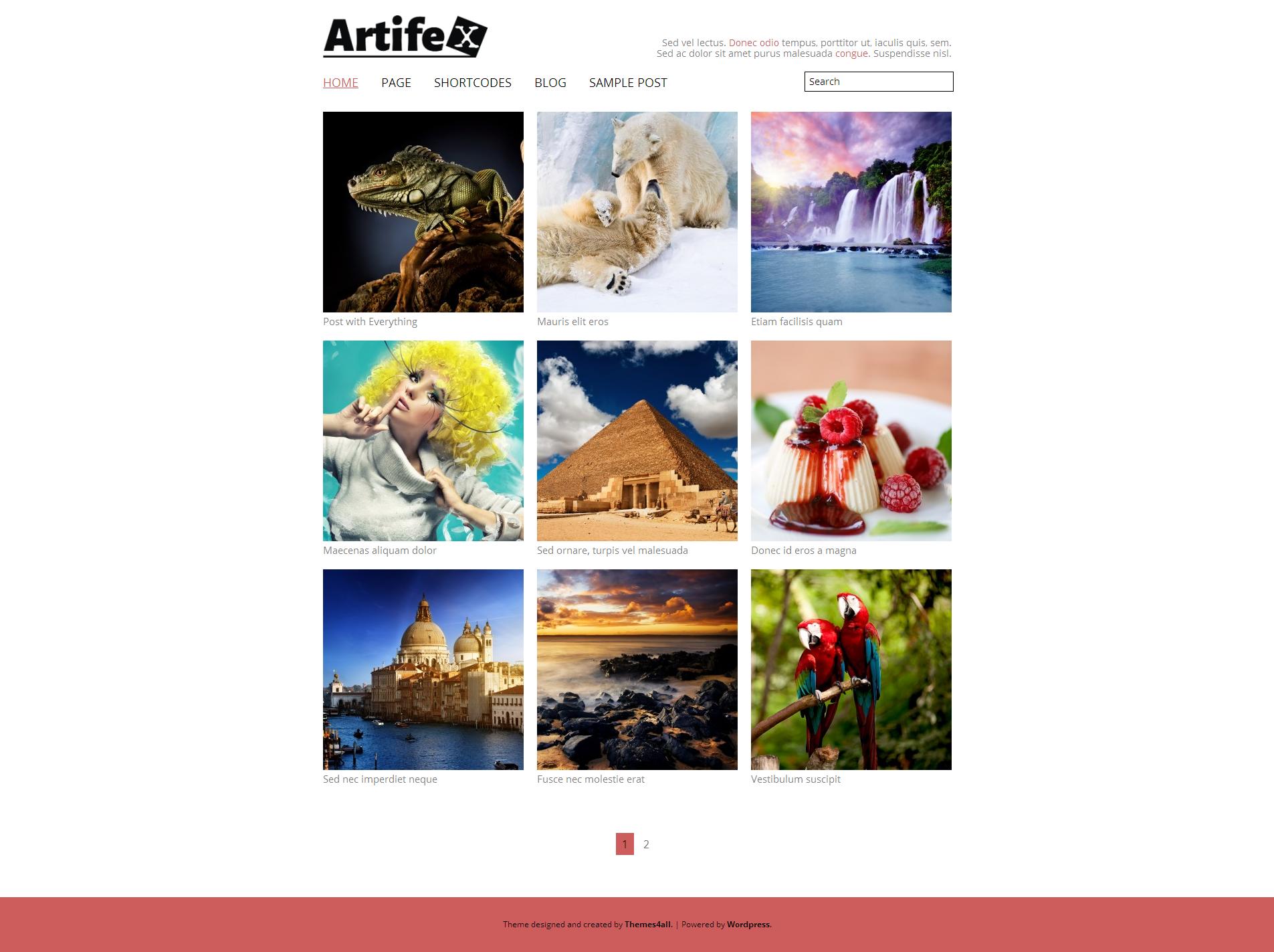 Artifex responsive portfolio WordPress theme