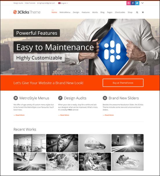 3Clicks | Responsive Multi-Purpose WordPress Theme - Business|Creative|Metro-style