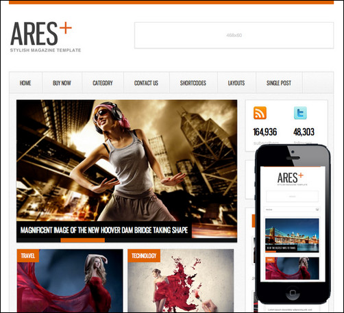 Ares Blog Magazine Newspaper Template - Magazine