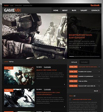 Black Game Portal WordPress Theme - Gaming