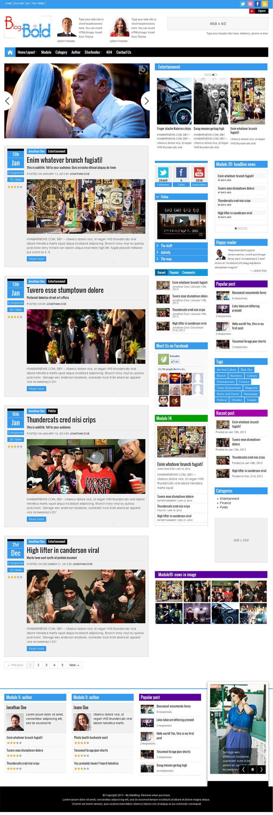 Blogbold - Responsive Metro Blogmagnews Theme - Magazine|Metro-style|Review