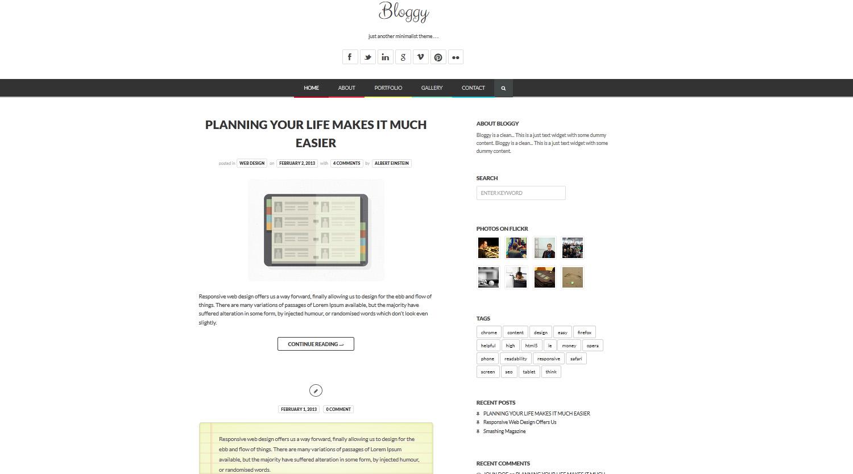 Bloggy WP - Responsive Minimalist Theme - Business Creative