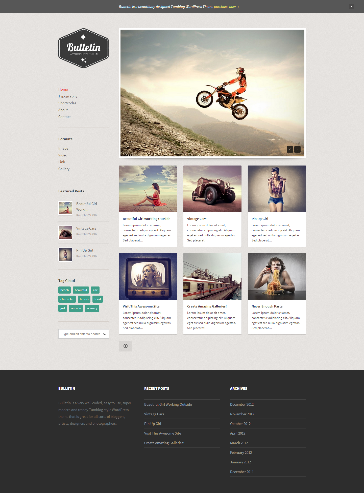 Bulletin Responsive Tumblog WordPress Theme - Magazine|Pinterest