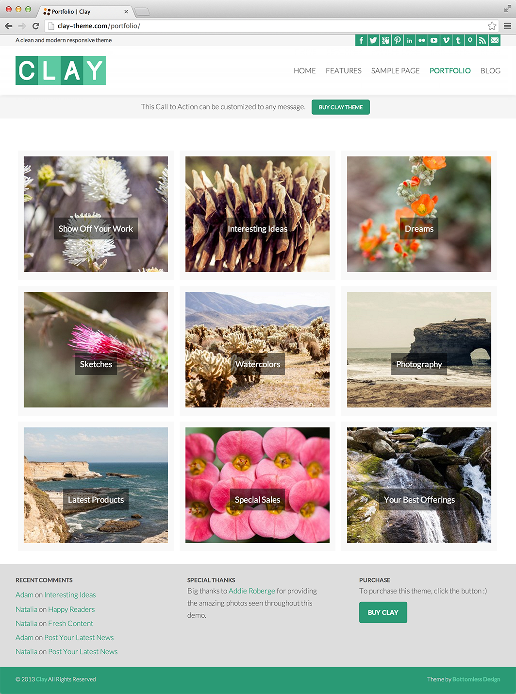 Clay - A Responsive All Natural WordPress Theme - Portfolio|Tumblr-Style