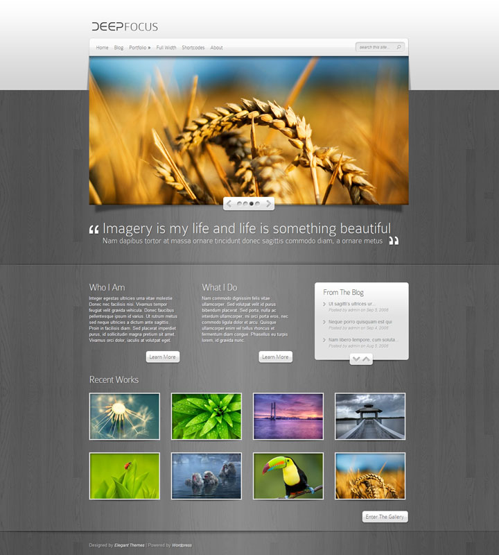 DeepFocus Photography WordPress Theme - Photography Portfolio