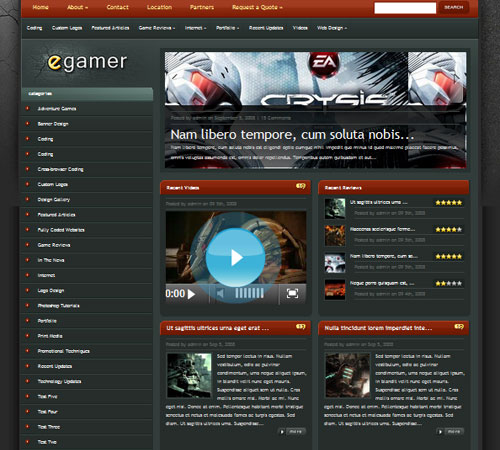 eGamer WordPress Theme - Gaming