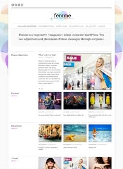 Femme WordPress magazine / eCommerce theme - Ecommerce>WooCommerce