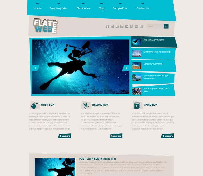 Flatee Blue WordPress Theme - Magazine