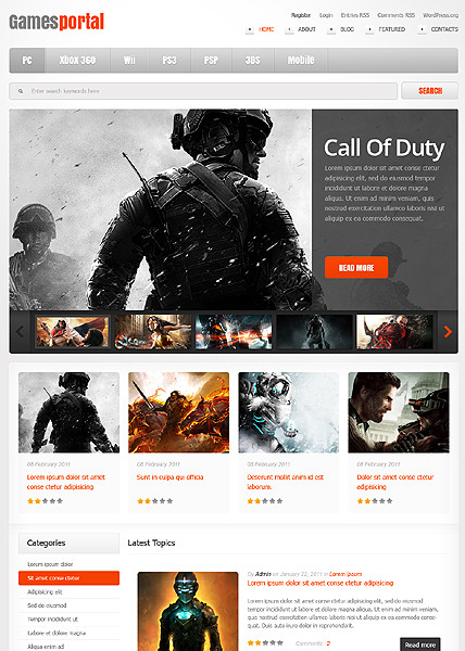 Games Portal WordPress Theme - Gaming