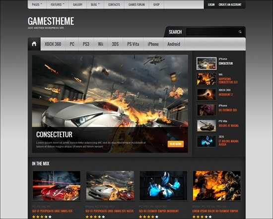 GamesTheme Premium WordPress Theme - Gaming