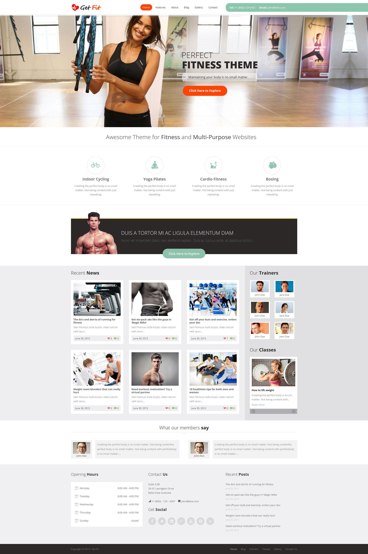 GetFit - Gym Fitness Multipurpose WordPress Theme - Fitness|Premium wordpress themes