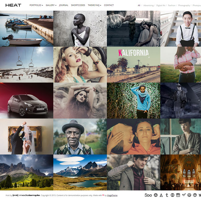 Heat Premium Portfolio WordPress Theme - Photography|Pinterest|Portfolio