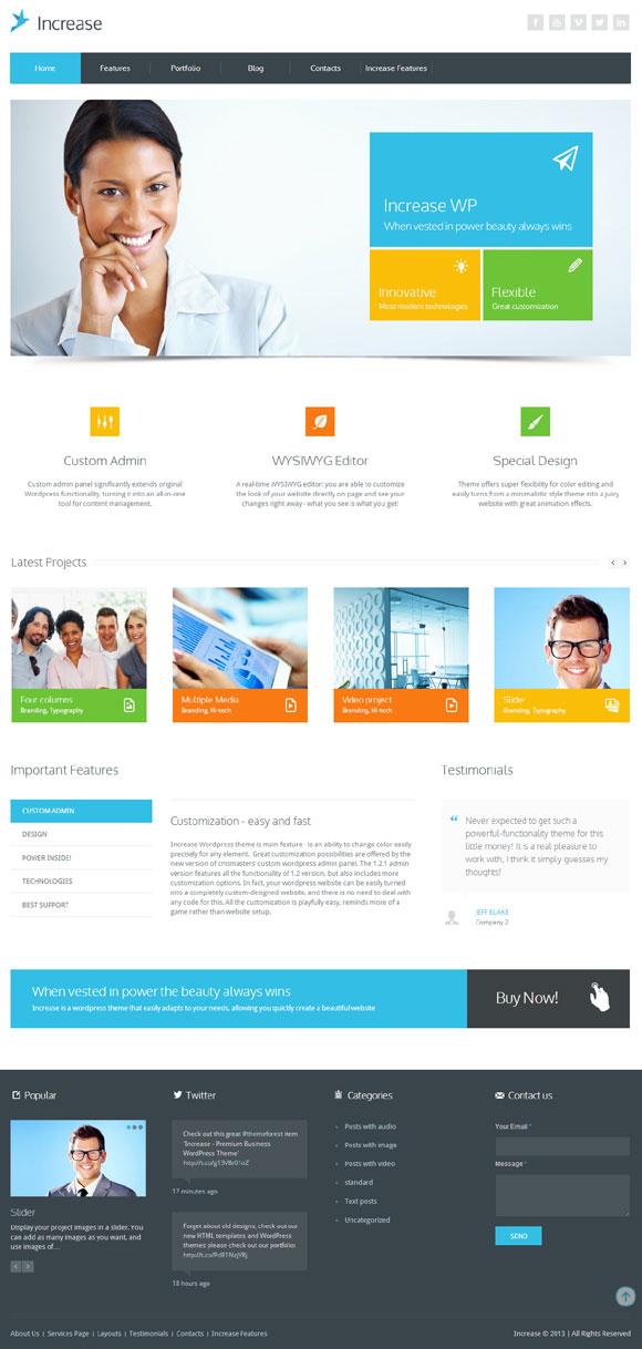 Increase - Premium Business WordPress Theme - Business|Metro-style