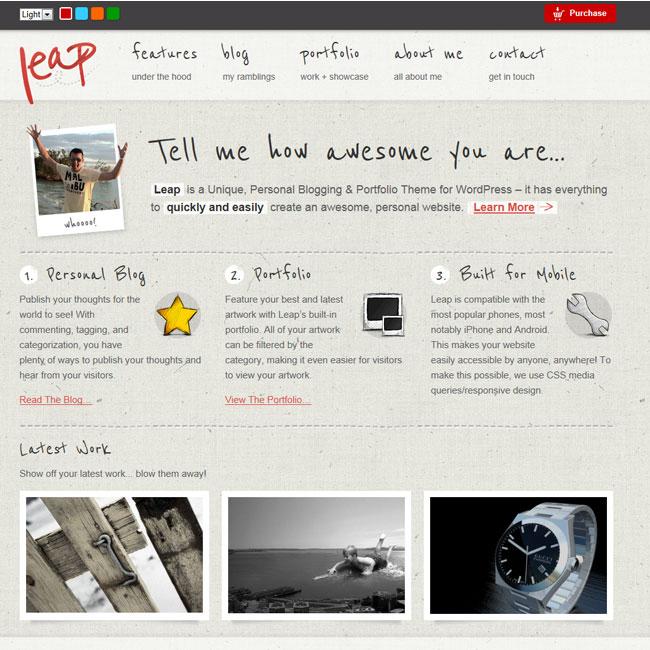 140 best magazine wordpress themes 2014 themes4wp leap unique personal blog portfolio theme magazine pronofoot35fo Gallery