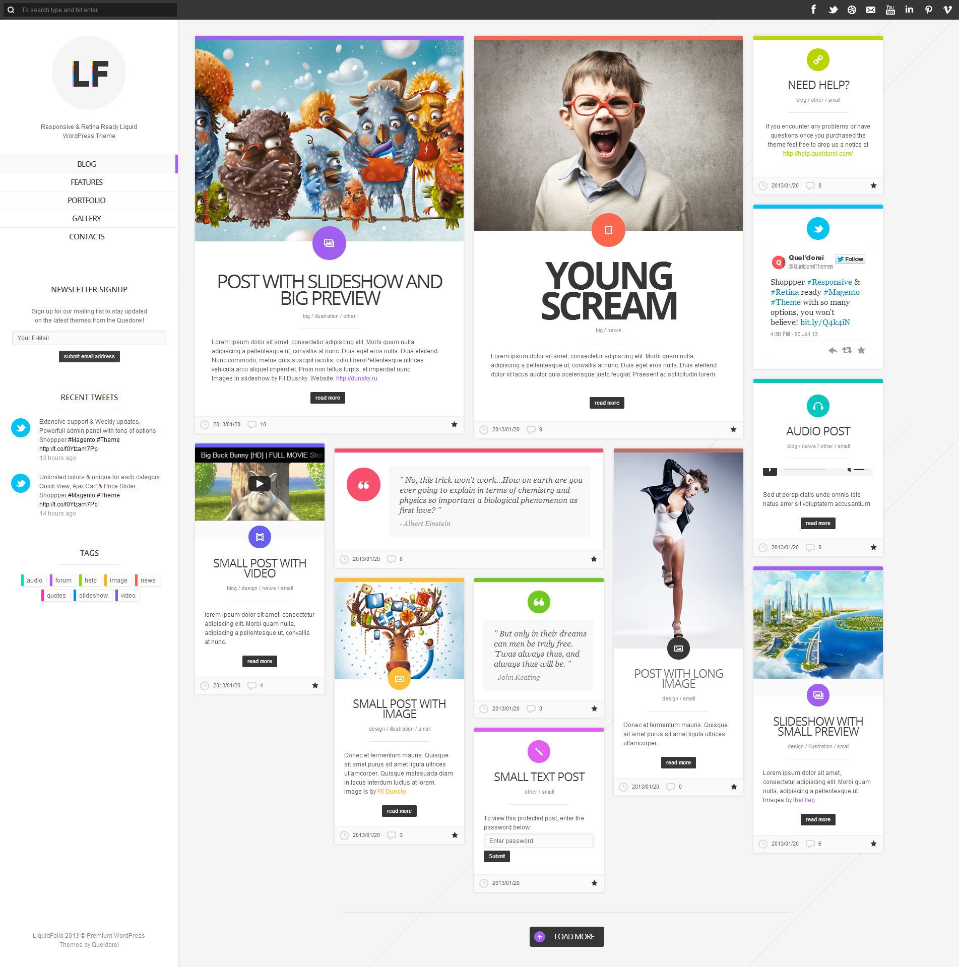 LiquidFolio - Portfolio Premium WordPress Theme - Pinterest|Portfolio