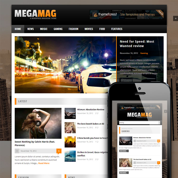 MEGAMAG - A Responsive Blog/Magazine Style Theme - Gaming|Magazine|Review