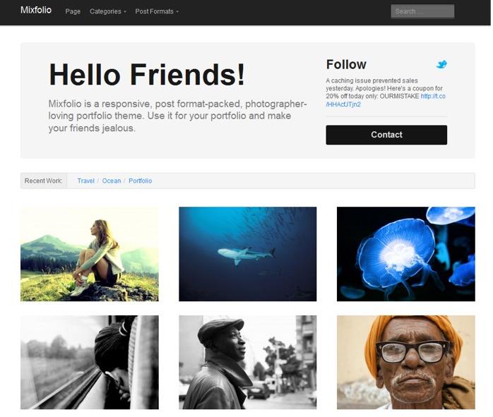 Mixfolio - free wordpress theme from Theme junkie - Free wordpress themes|Portfolio