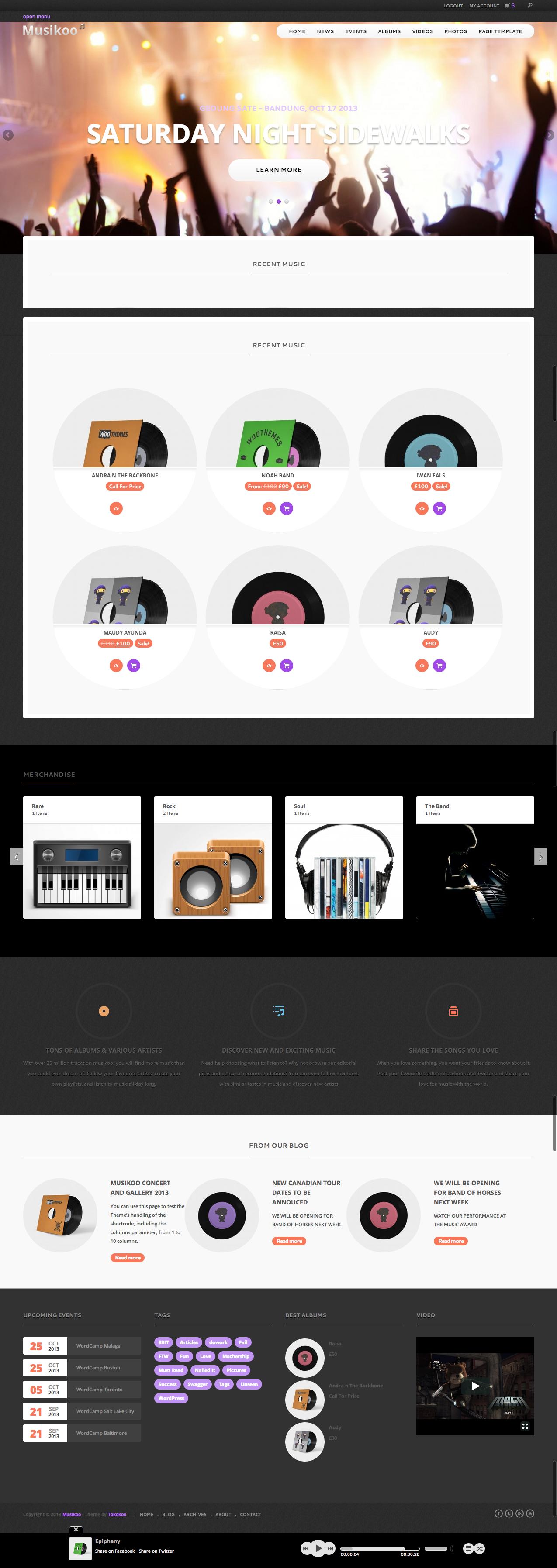 Musikoo Music Band Responsive WordPress Theme - Music Premium wordpress themes