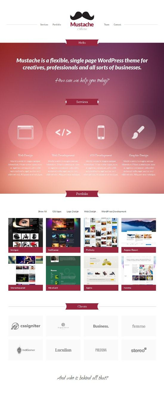 Mustache Wordpress Theme - Portfolio