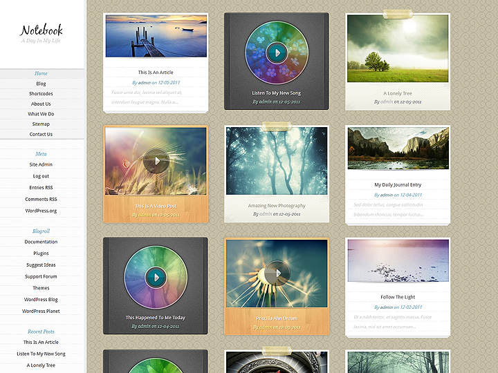 Notebook WordPress Theme - Photography|Tumblr-Style