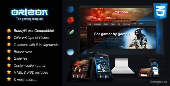 Orizon - The Gaming Template WP version - Gaming|Review