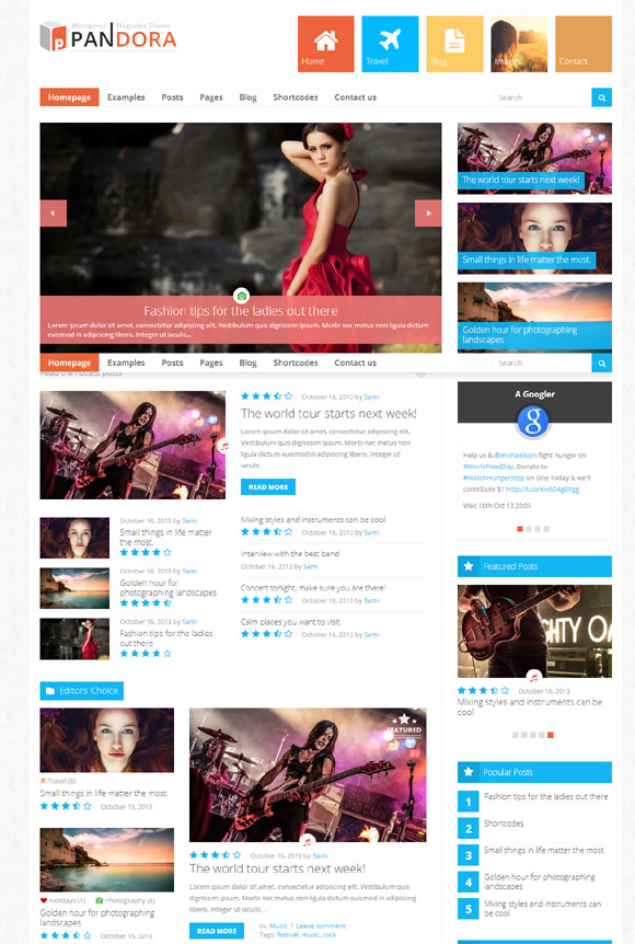 Pandora - Responsive WordPress Magazine Theme - Magazine|Metro-style|Review