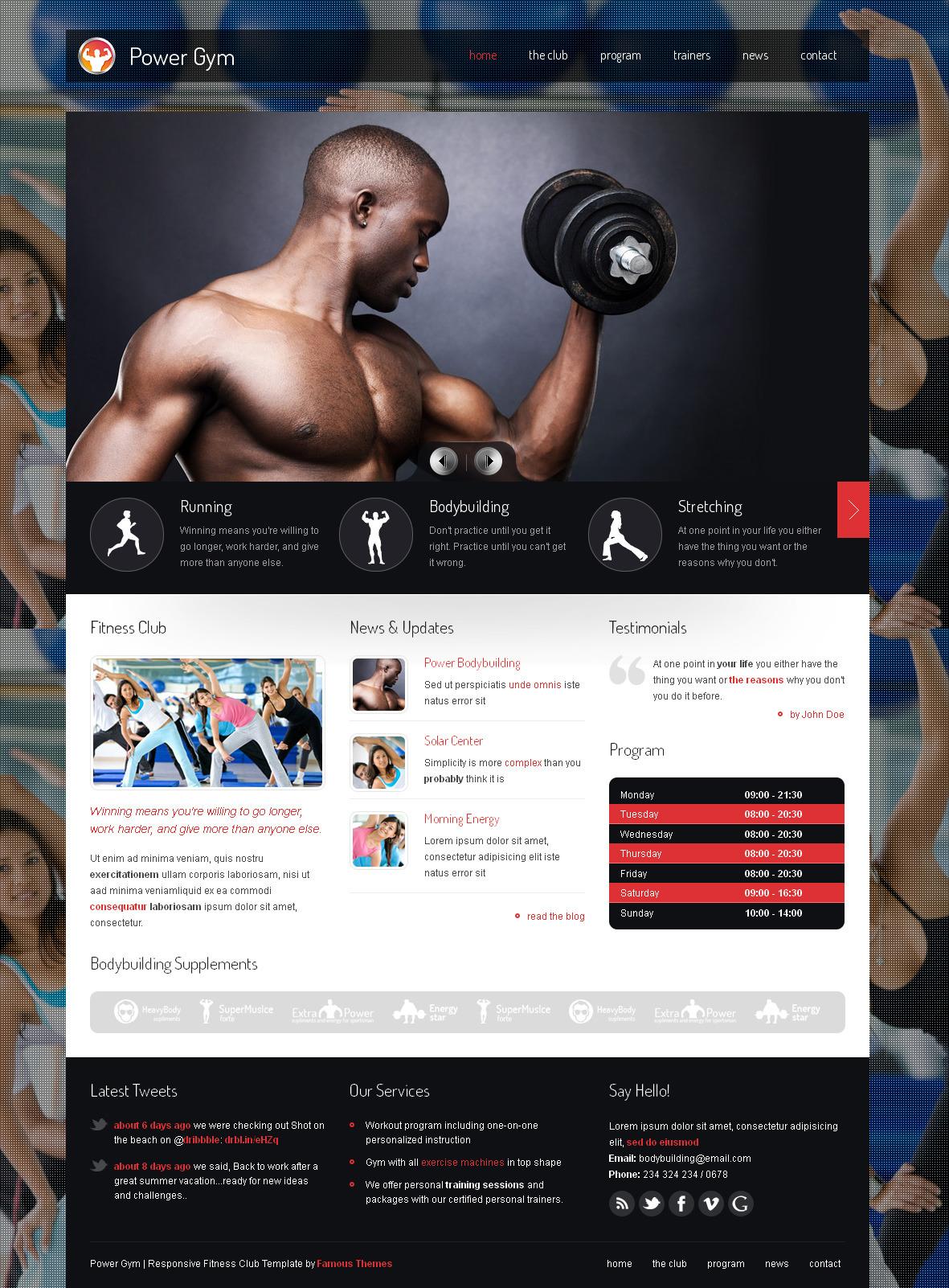 Power Gym - Responsive Wordpress Theme - Fitness Premium wordpress themes