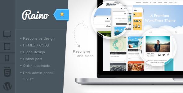 Raino - Clean Blog and Portfolio Resonsive - Premium wordpress themes