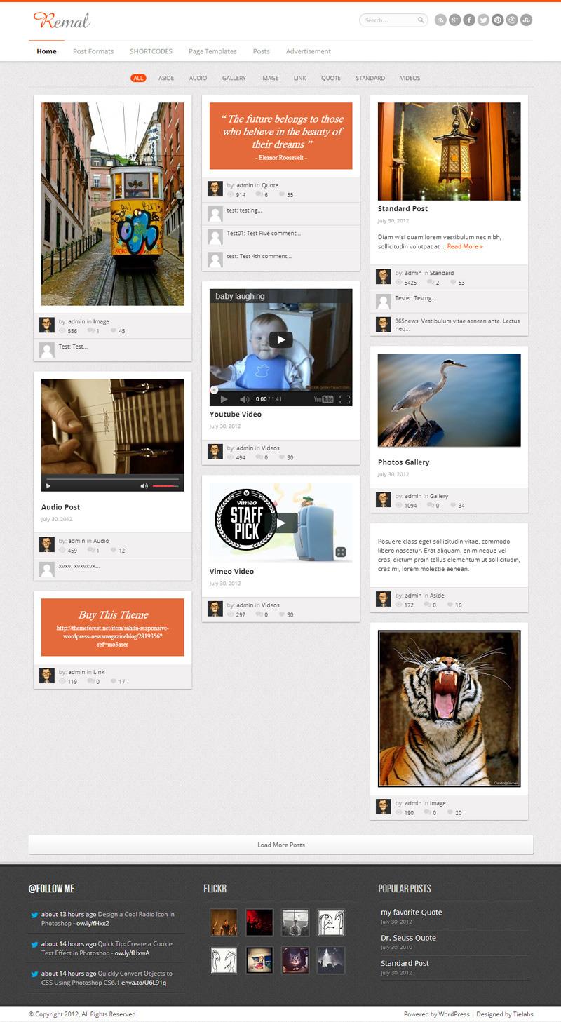Remal - Responsive WordPress Blog Theme - Magazine|Tumblr-Style
