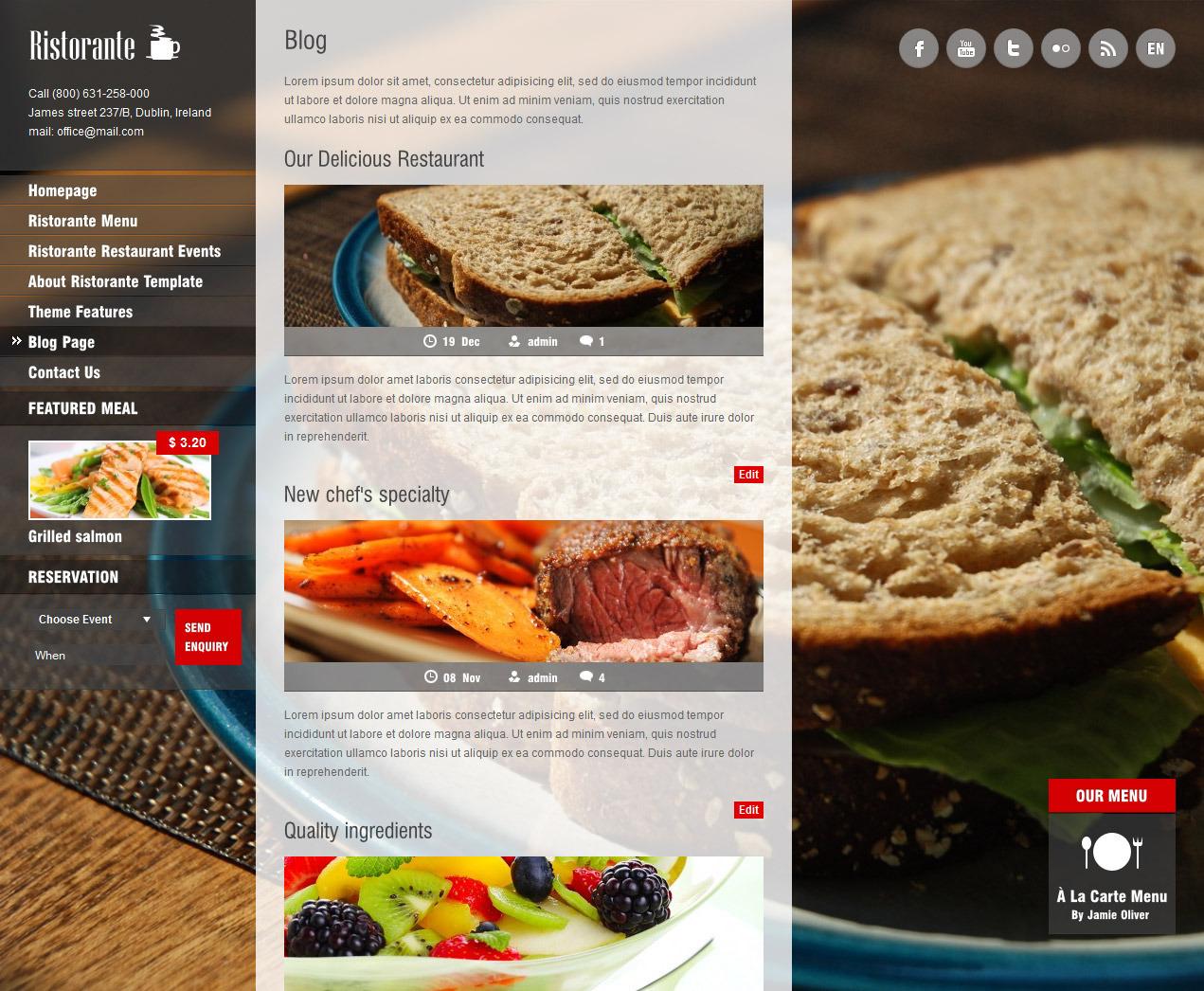 Ristorante Responsive Restaurant Wordpress Theme - Premium wordpress themes|Restaurant