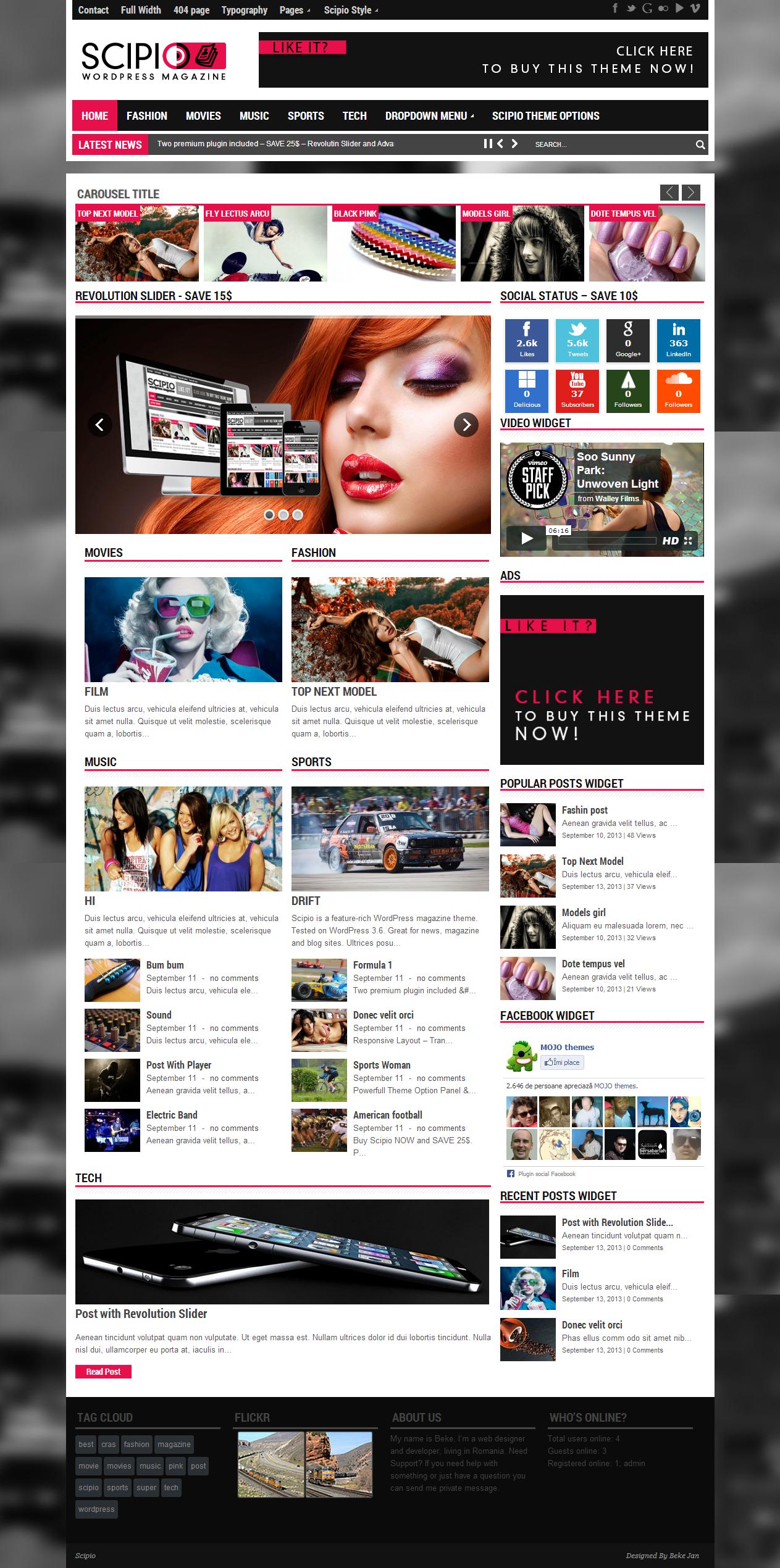 Scipio responsive wordpress theme - Magazine|Ecommerce>WooCommerce