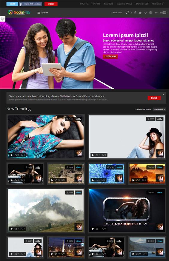 SocialPlay - Media Sharing Wordpress Theme - Premium wordpress themes