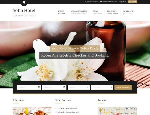 Soho Hotel - Responsive Hotel Booking WP Theme - Business|Hotel