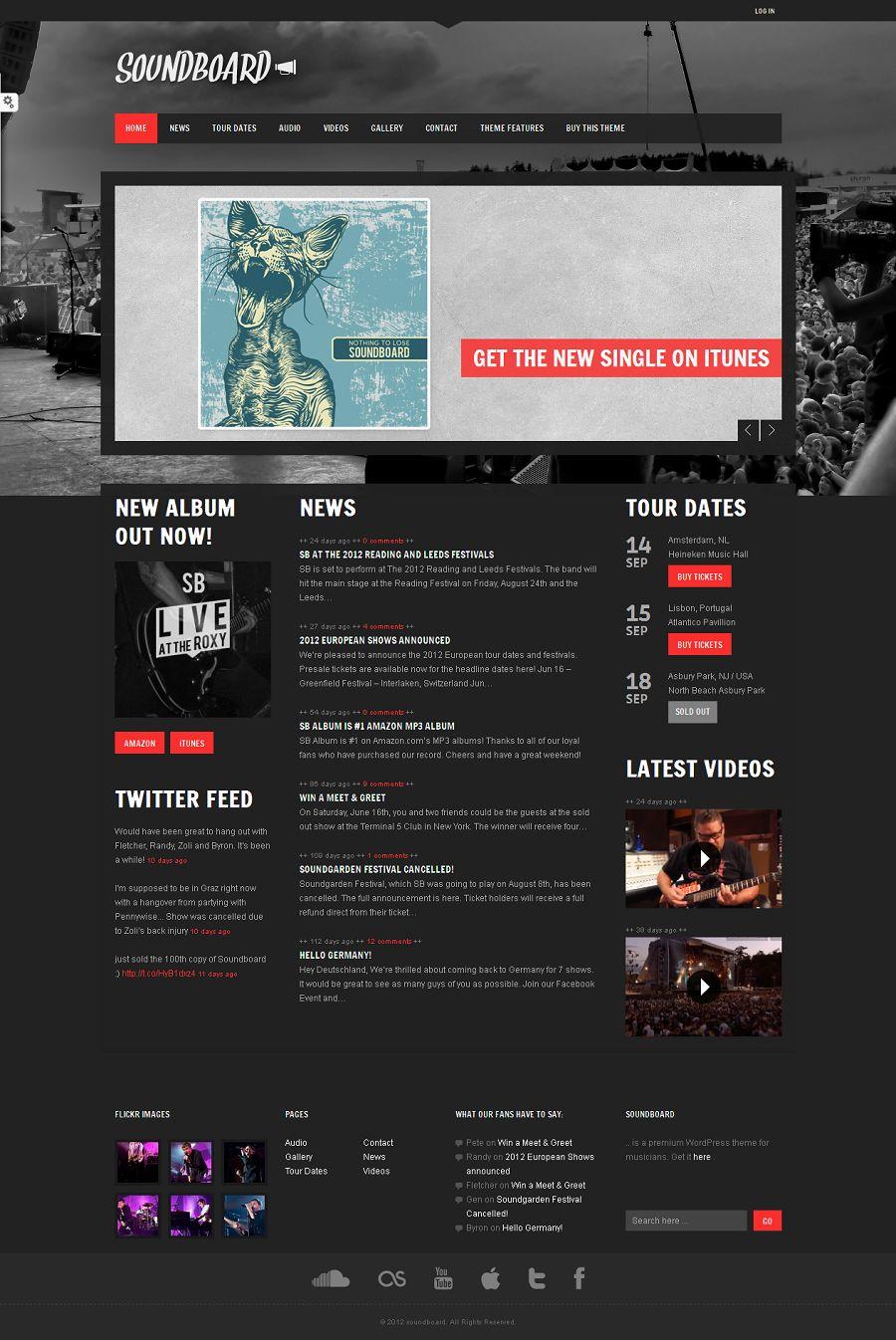 Soundboard - a Premium Music WordPress Theme - Music Premium wordpress themes
