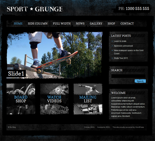 Sport and Grunge - WordPress Shop & Newsletter - Ecommerce>Jigoshop|Premium wordpress themes|Sports