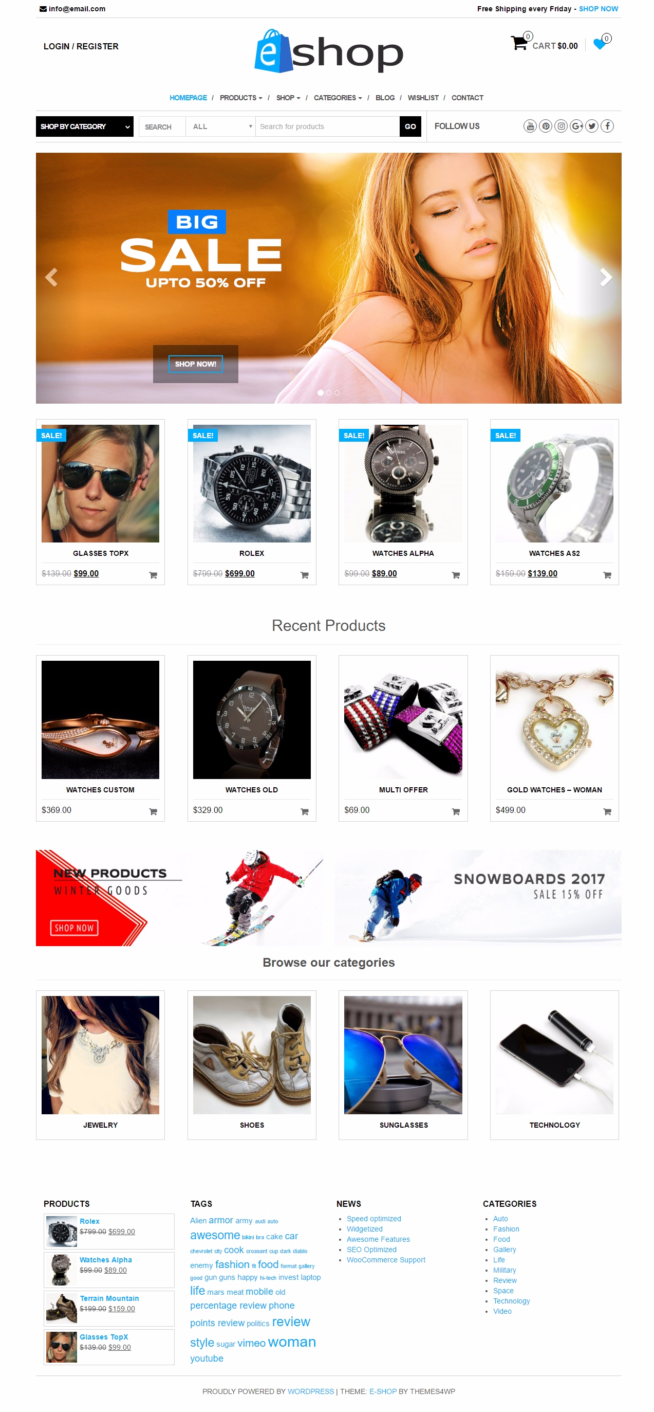 Free WooCommerce theme - E-shop